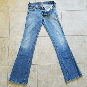 7 For All Mankind Boy Cut Button Fly Blue Jeans
